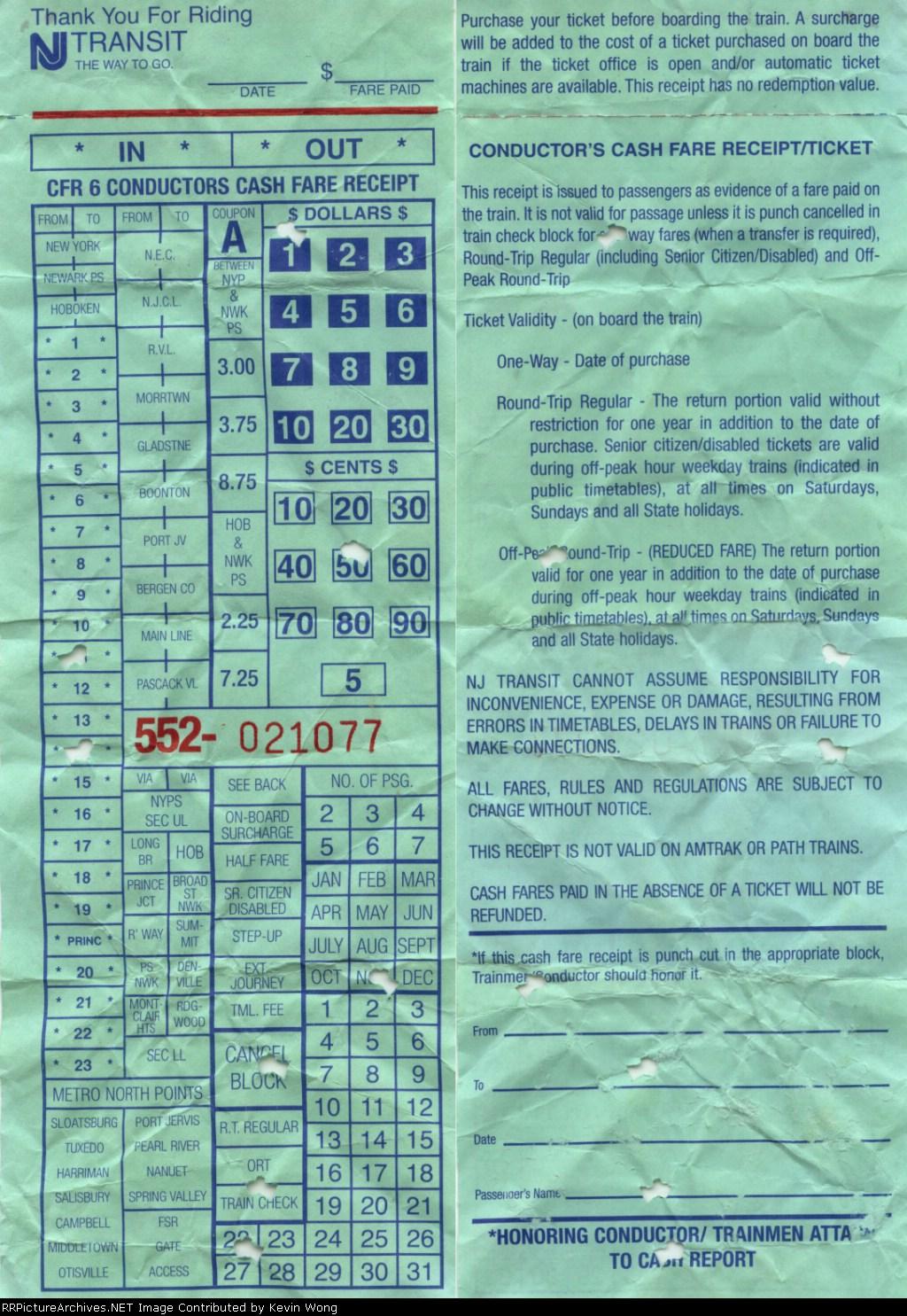 Cash fare receipt