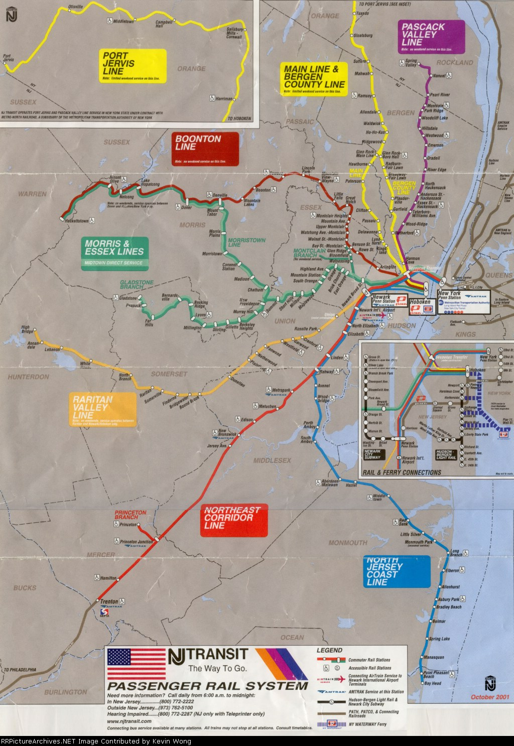 October 2001 NJ Transit map