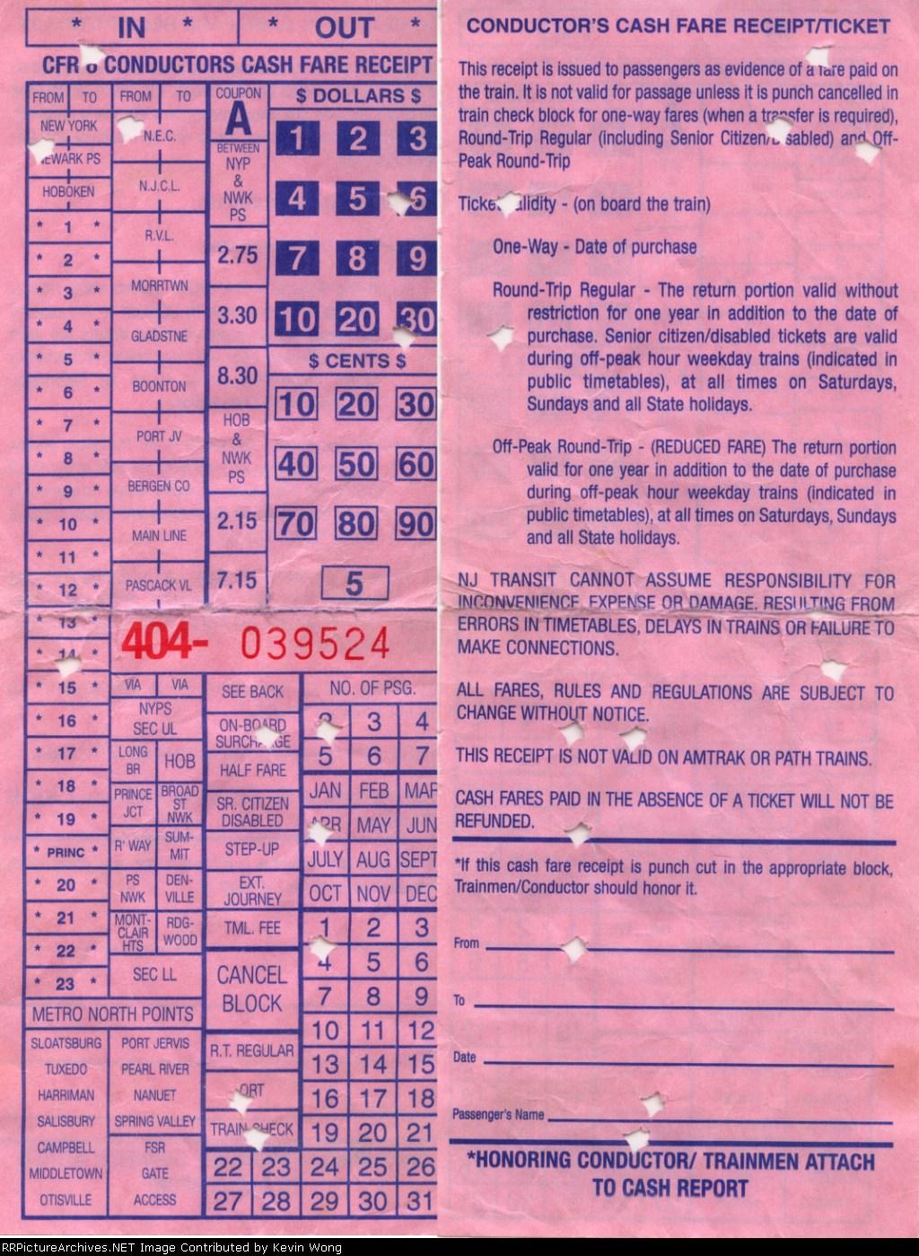 on board cash fare receipt