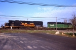 NREX 5398 & FURX 7886 still in the former owners paint and road #'s head towards Frontier Yard on CSX.