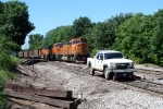 BNSF 8888 passing hi-railer