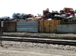 Scrapyard wall made from freight cars