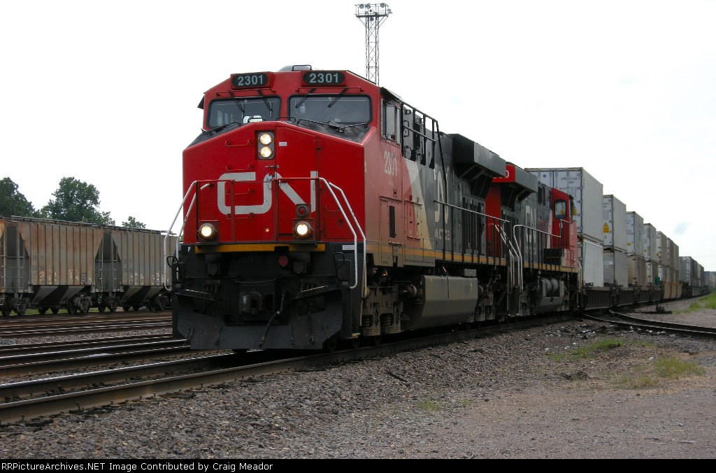 A CN train on UP property