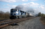 A pair of Conrail SD80MAC lead TV77 West through Riga, NY.