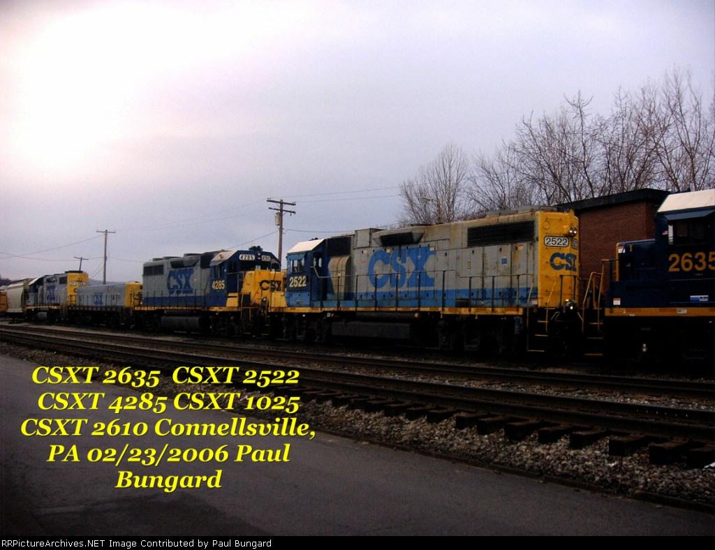 CSX 4285  GP39 CSXT 2522  GP38-2 CSXT 1045 Yard Slug CSXT 2610 GP38-2  02/23/2006