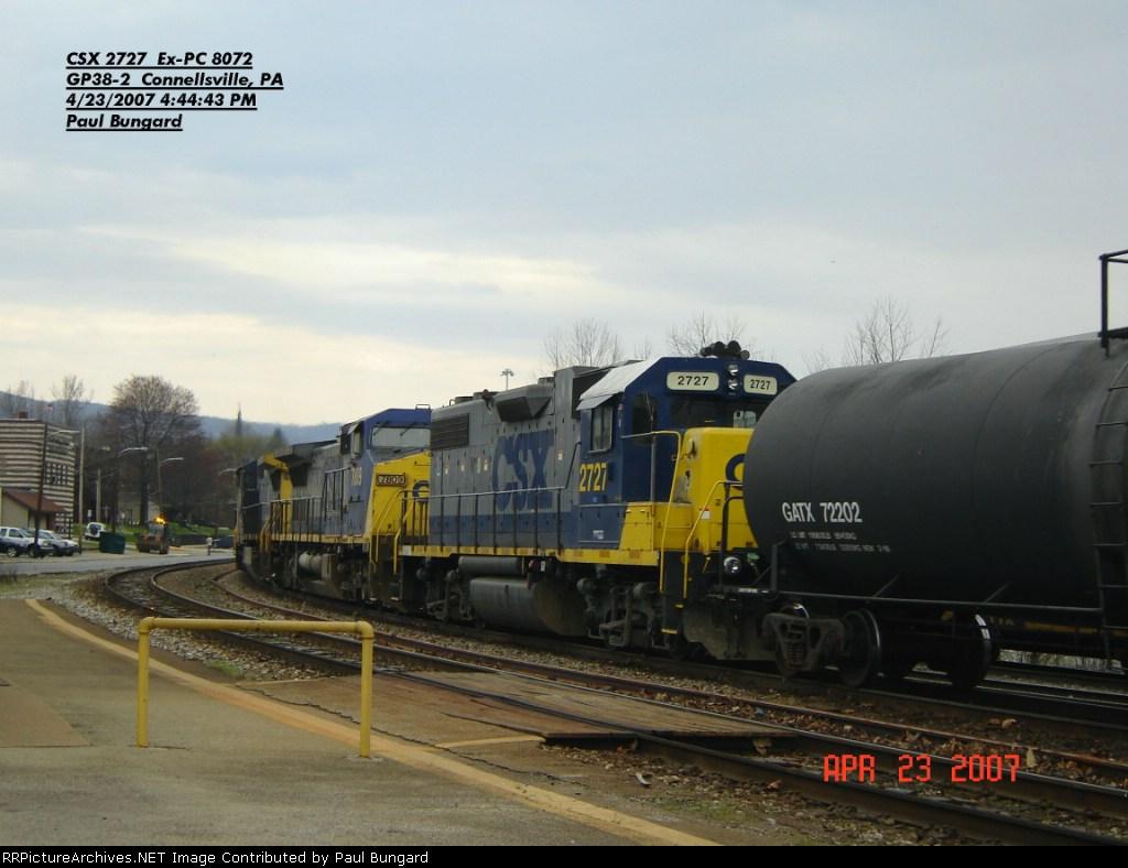 CSX 2727  Ex-PC 8072 GP38-2  April 23, 2007
