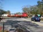 A SB freight passes through Woodstock