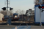 Train 1357 is west bound at the Soda Switch in Garfield NJ. This is the interchange with NY&GL