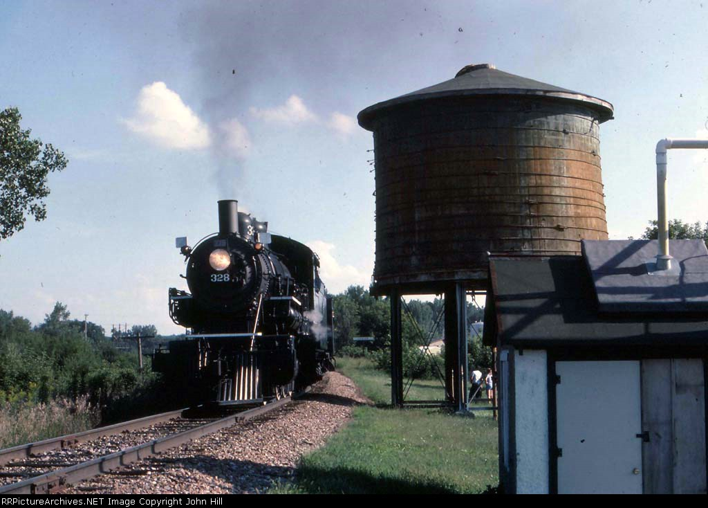 """1305-20 NP 328 """"Renaissance Festival"""" excursion via C&NW (ex-M&StL) from Amtrak Midway to Merriam Jct."""