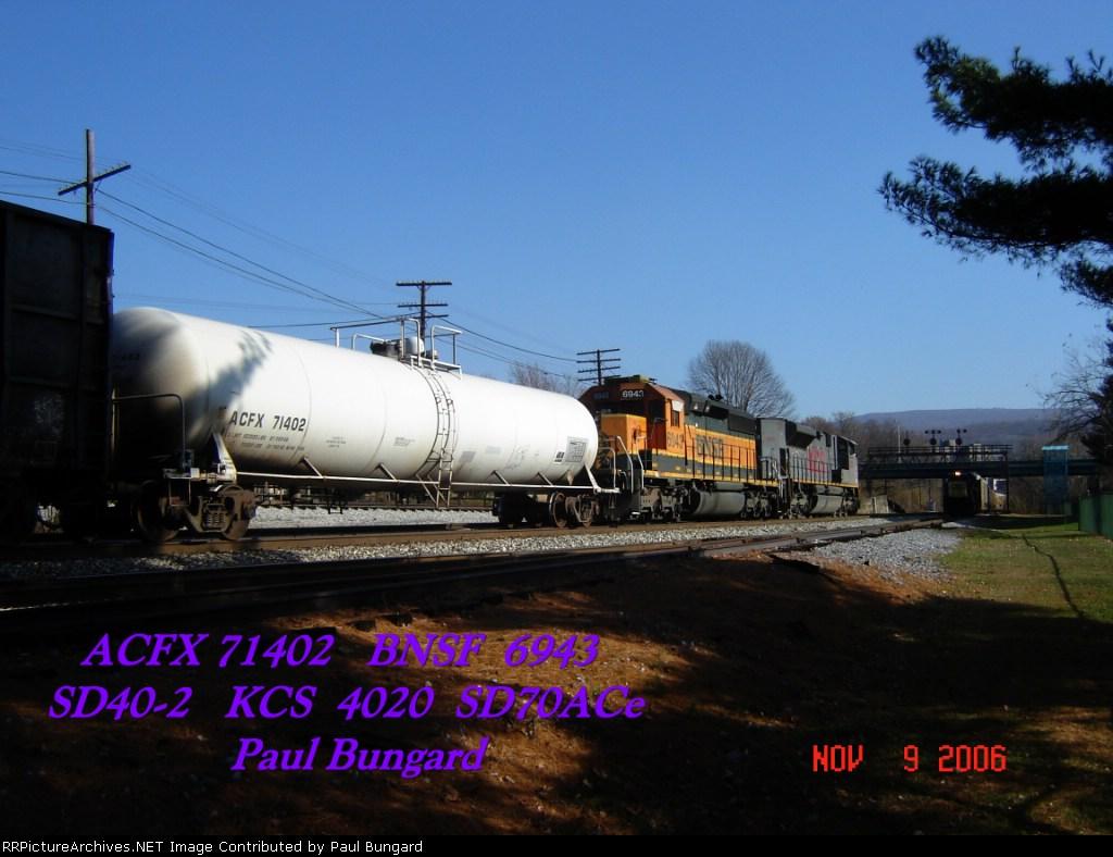 ACFX 71402  Tank Car   BNSF 6943  SD40-2   KCS 4020  SD70ACe   11/09/2006