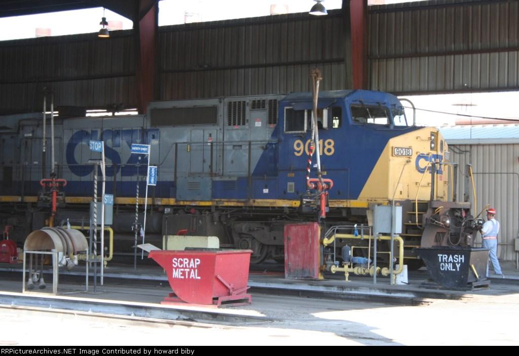 CSX 9018 gets serviced far from home