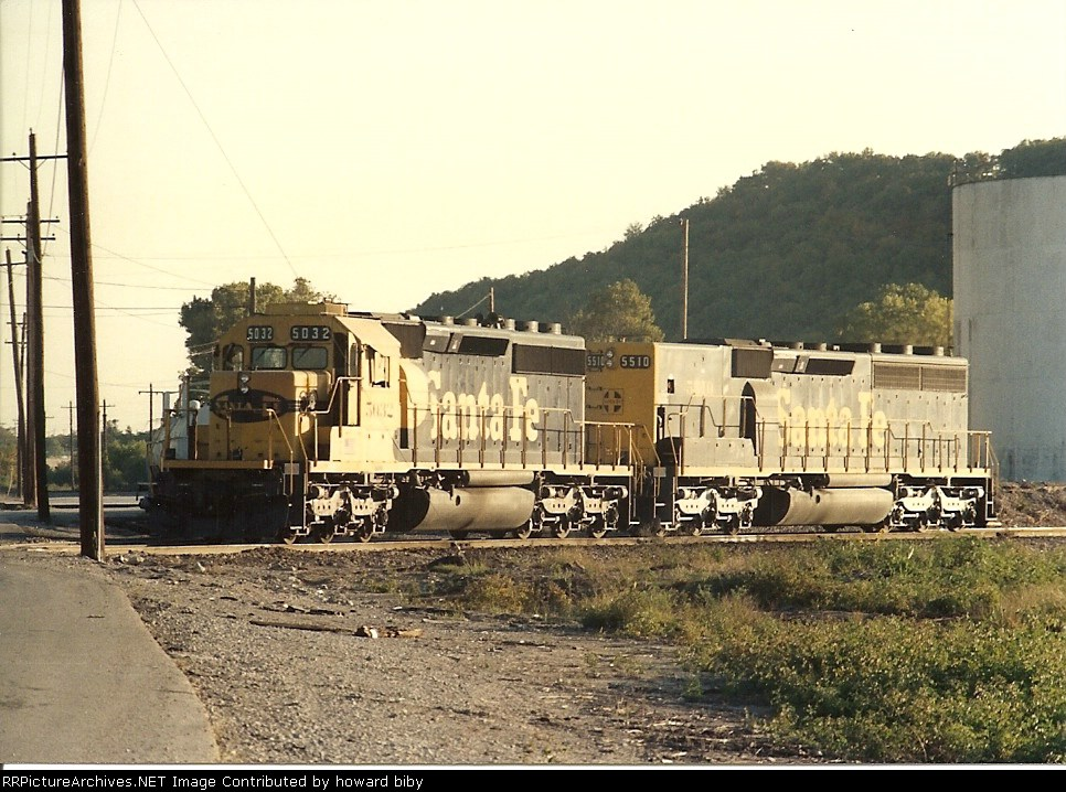 ATSF 5032 and 5510 await the call in the early morning sun at Cherokee Yard