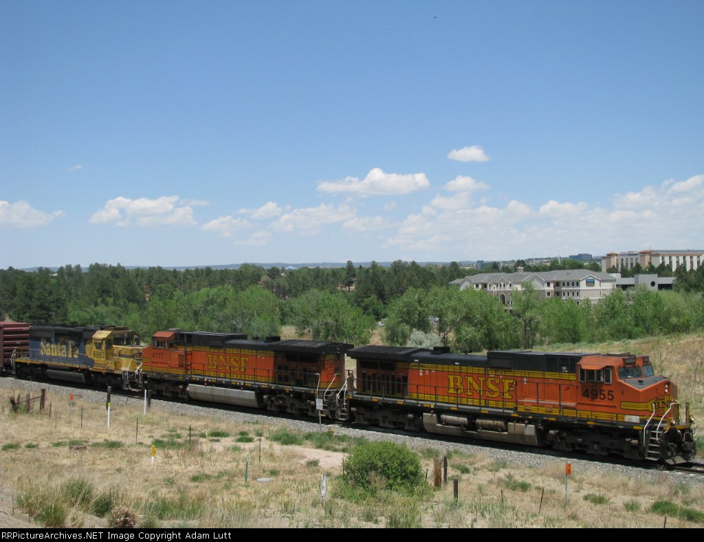 """BNSF 4955 with """"Snoot"""" in consist."""