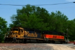 "BNSF SD40-2 6727 and GP60B 343 lead a westbound ""deadhead"" train of intermodal cars."