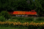 BNSF C44-9W 4747 is a trailing unit on this eastbound.