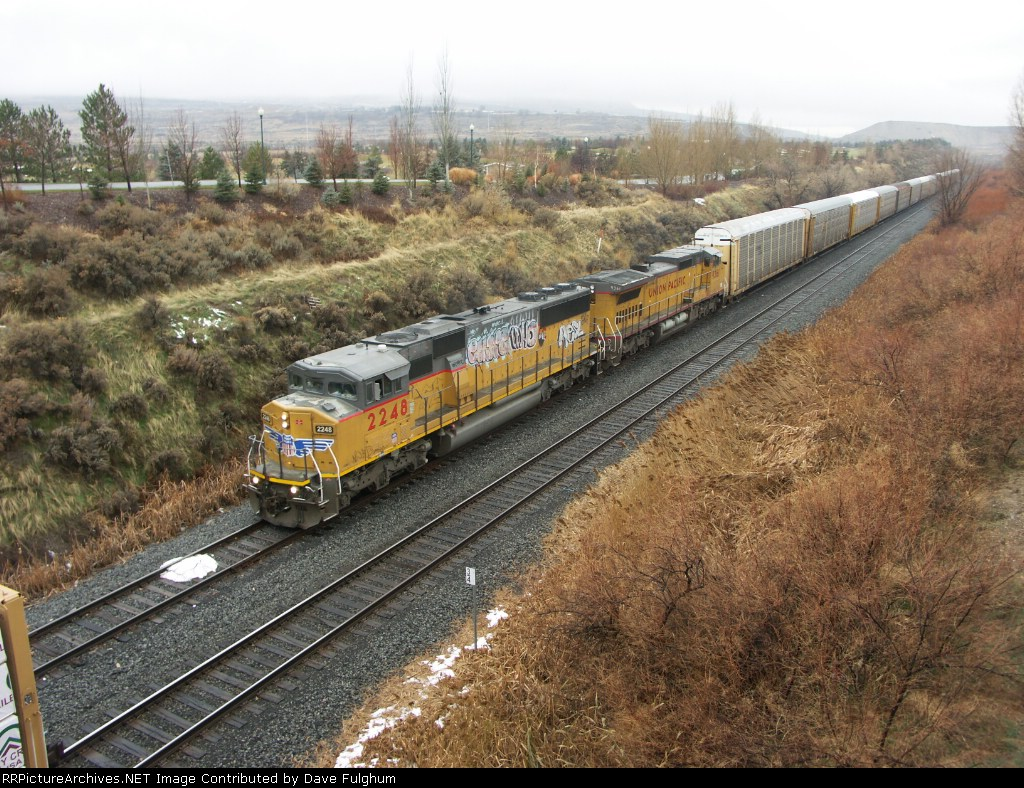 UP 2248 rolls through Thanksgiving Point with a string of empty auto racks.