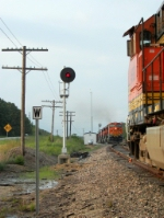 Westbound BNSF Empty Coal Train Meeting an Eastbound BNSF Intermodal Train
