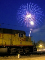 Tied Down UP Local Assigned Locomotive and Fireworks