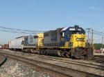 One of the few SD38's left on CSX's roster works at the east end of Wyoming Yard