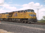 UP 7632 leads an EB doublestack at 1:59pm