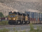 UP 8332 leads a WB doublestack at 1:12pm