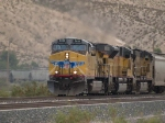 UP 5818 leads a WB grain train at 3:07pm