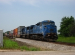 NS 8466 ex LMS 726 heads east along I 70 as it passes Mid Rivers Mall Dr crossing on this nice hot and humid day.
