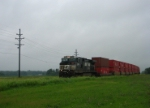 NS 9839 accelerates on towards Jonesburg after meeting a westbound back in High Hill.