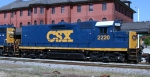 CSX 2220 heads southbound past the passenger station
