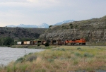BNSF 7555 heads west toward Livingston along the Yellowstone river.