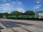 A Pair of SD40-2's Lead Mixed Freight Out Through the Yard