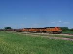 BNSF 7615 Leading A Grain Train South to Sioux City