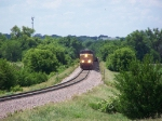 UP 5261 Leads Mixed Freight North Out of Town