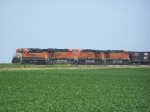 BNSF 6971 With an Odd Nose Color Leads the Way