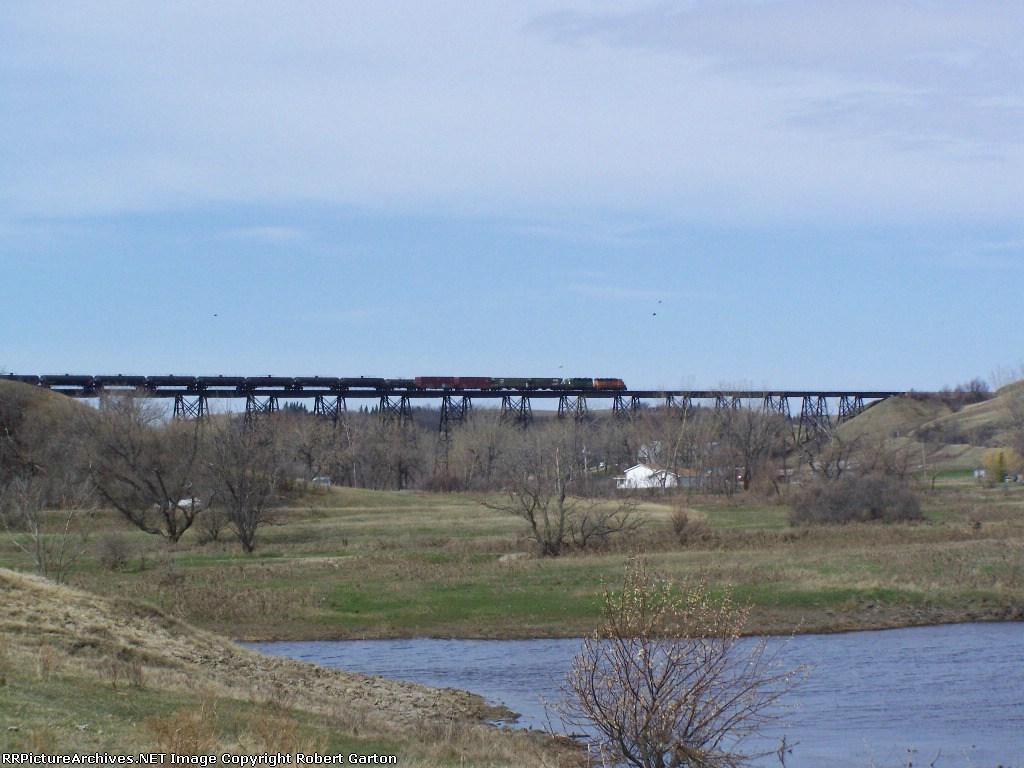 BNSF Local on a High Bridge