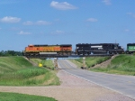 BNSF 4326 Flies Over the US Hwy 18 Bridge