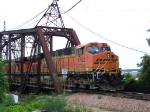 BNSF 5782 Brings Up the Rear on the CN/IC Bridge Spanning the Mississippi