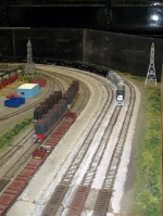 Reading Company Technical & Historical Society modular layout 120 ft.  Every year during the July 4th holiday,  this group sets up its display in the Pennsylvania Railroad Museum,  across the street from the Strasburg Railroad.   They do several other sho
