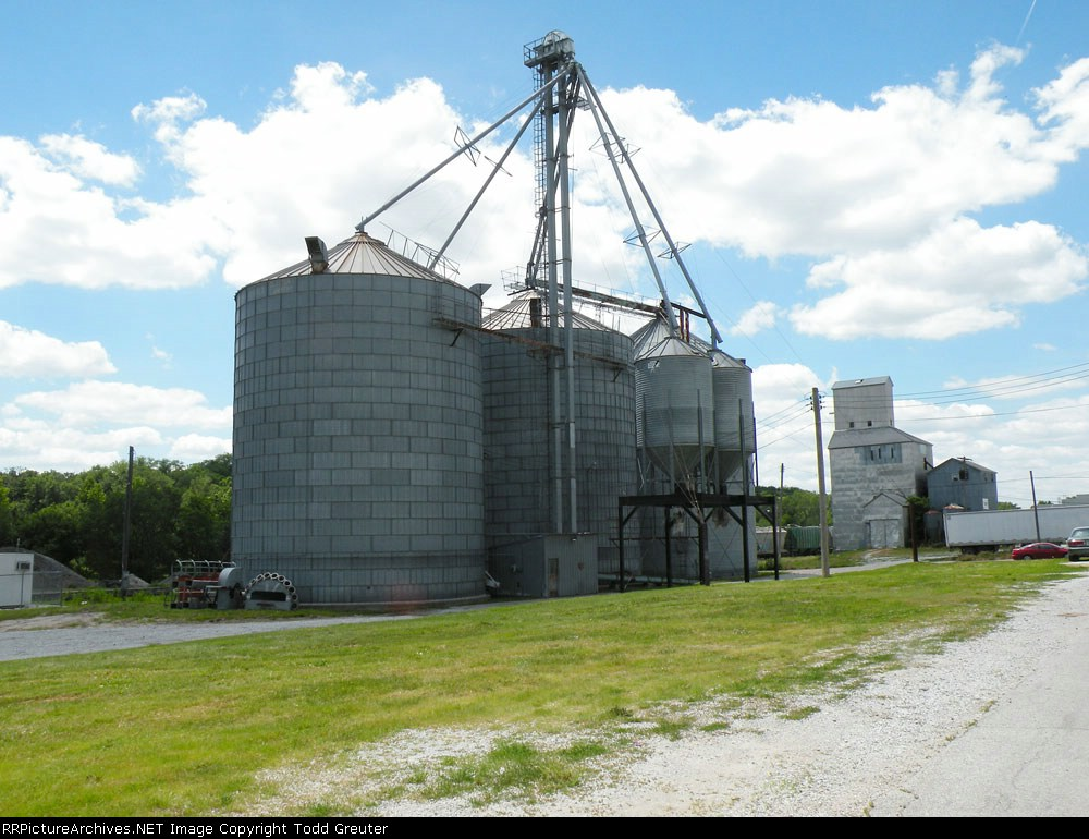 Street-side view of Silos