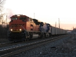 BNSF 9390 & CEFX 1004 bring N859-21 west along the B&OCT at sunrise