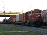 4510 drills cars out the north end of the intermodal yard