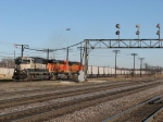 Having gotten the signal to start west, BNSF 9676 leads out of the yard