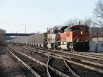 BNSF 9266 & 9646 lead Weston coal loads through the crossovers toward the north side of the yard