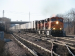 BNSF 7496 leads its intermodal train east after coming from South Seattle