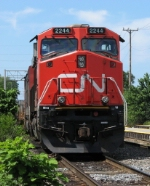 CN 2244 waits with a southbound WC train