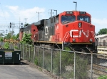 CN 2244 & 5453 sit tied down on the West Freight Lead