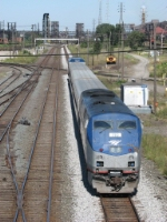 AMTK 119 pushes train 371, the Pere Marquette, towards Chicago