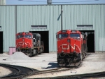 CN 2591 & 2685 sit at the end of power outside the shop