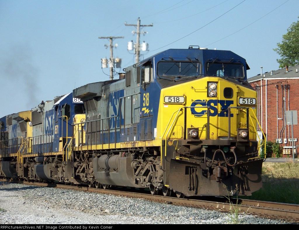 CSX 518 leads CSX 8571, CSX 7725 with G774 Southbound Unit Grain 7/2/08