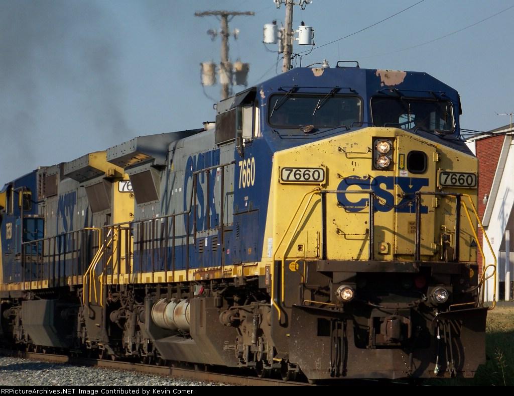 CSX 7660 and southbound G604 along Adams St. 7/2/08